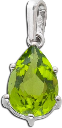 Peridot Anhänger grün facettierter Peridot Tropfen Form Weiss Gold 750