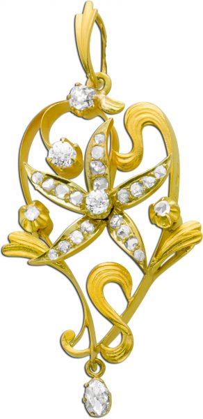 Diamantanhänger antik Altschliff Brilla...