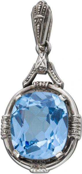 Antiker Anhänger Silber 835 Blautopas f...