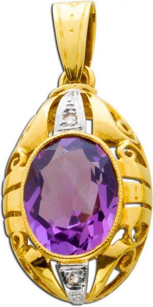 Anhänger Antik Gold 585 Amethyst Edelstein lila leuchtend Diamanten im Rosenschliff aus den 30er Jahren