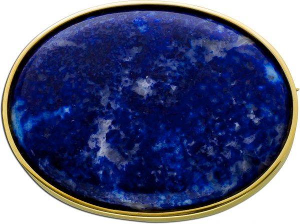 Anstecknadel Gelbgold 585 dunkelblauer Sodalith Cabochon Antik