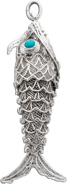 Fisch Anhänger Silber 925 beweglich 2 Türkise Antik 30er Jahre Parfüm Behältnis