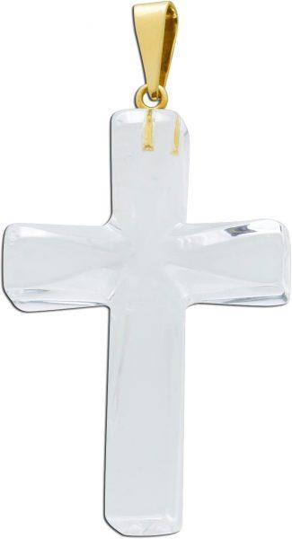 Kreuz Anhänger Bergkristall klar transparent Gelbgold 333