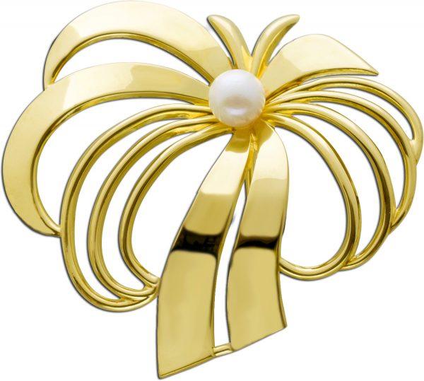 Anhänger Anstecknadel Gold 333 Palmen Form Perle weiß rose Akoya antik