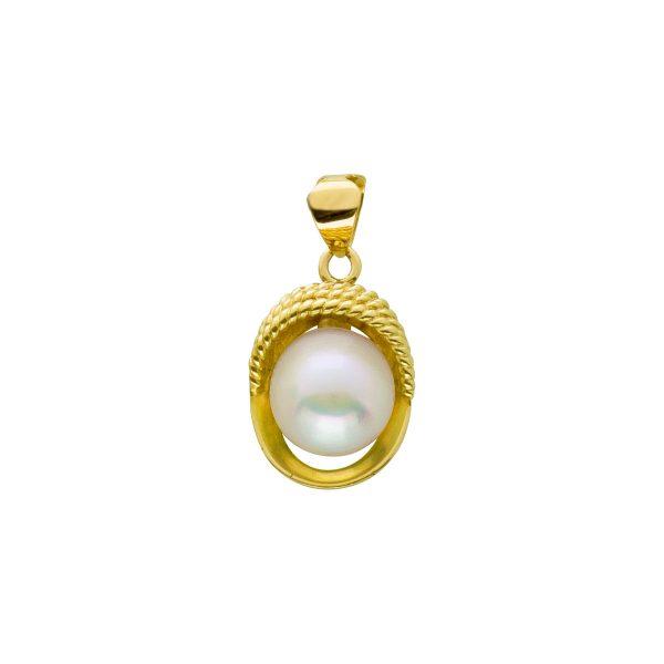 Perlen Anhänger Gold 585 weiß rose Ako...