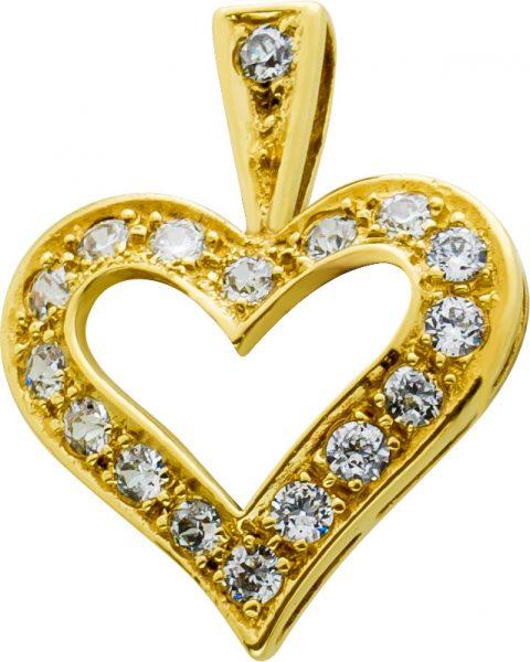 Herz Anhänger Gold 333 Zirkonia klassis...