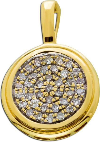 Antiker Diamant Anhänger Gelb Gold 333 ...