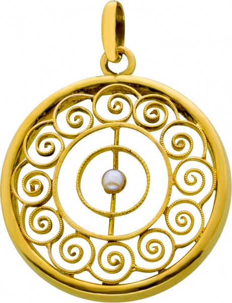 Antiker Perlanhänger Gelb Gold 585 etru...