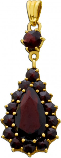 Edelstein rot Anhänger Antik Gold 333 Granat Goldschmuck Granatschmuck
