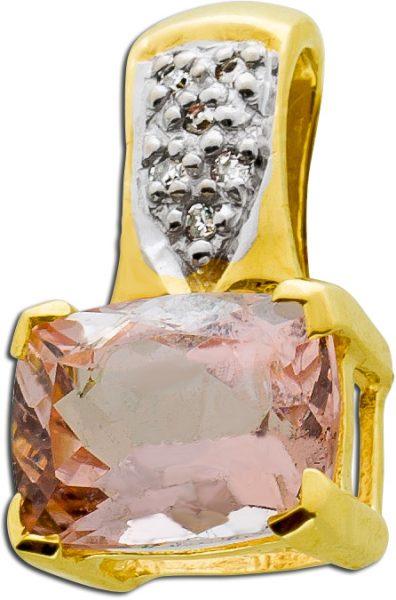 Edelstein rosa Anhänger Gold 333 Morganit Diamanten Edelsteinschmuck