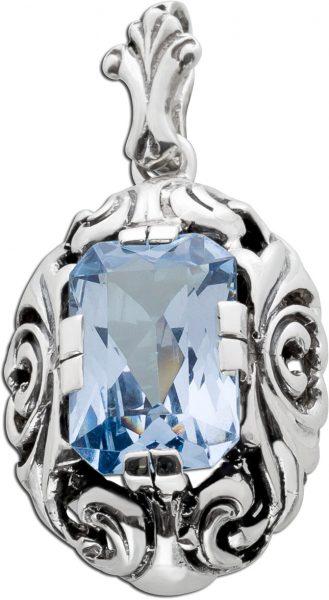 Antiker Blautopas Silberanhänger blauer Edelstein Silber 835