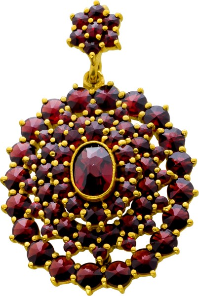 Granat Anhänger Silber 835 vergoldet rot braune Edelsteinen facettiert rund oval