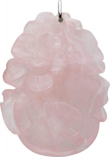 Blütentraum Rosenquarz Anhänger von Hand geschliffen Stahl Schlaufe