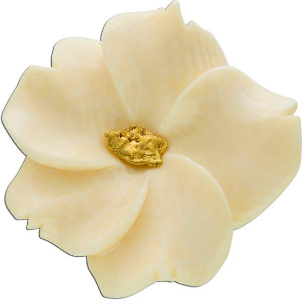 Antiker Elfenbein Anhänger Blütenform Metall vergoldet  Goldnugget 999 Knospe 30-er Jahre