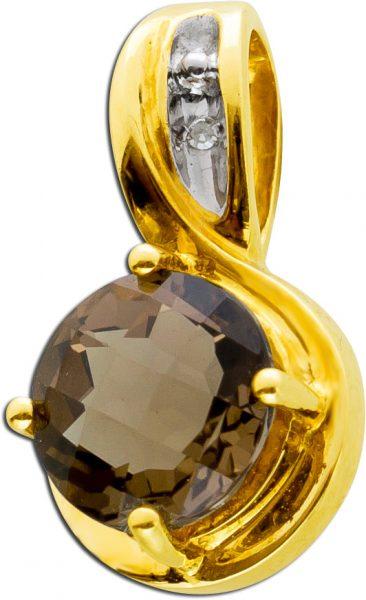 Quarz Anhänger Gelb Gold 333/-brauner R...