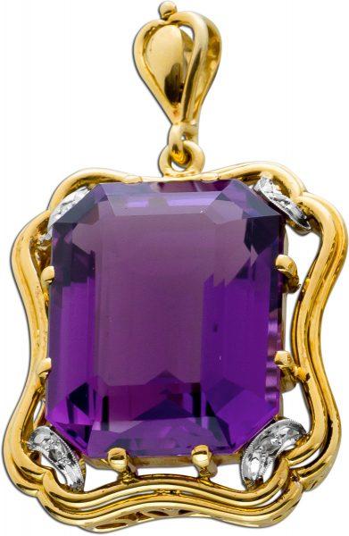 Antiker Edelstein Anhänger um 1900 Gelbgold 585/- lila Amethyst Rosen Diamanten Diamantschmuck