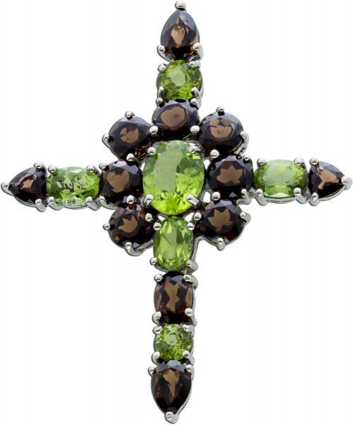 Kreuz Anhänger Peridot grün Rauchquarz braun Silber 925/- Edelsteinschmuck