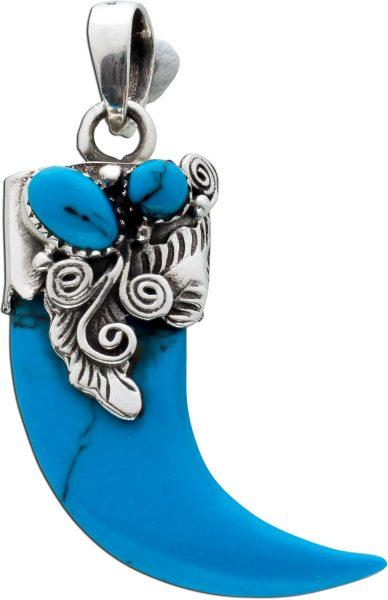 Edelstein Anhänger Silber 925 antik 50-er Jahre echte Türkis Tigerkrallenform Unisex