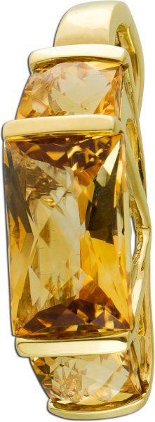 Clip Anhänger Gelbgold 333/- Citrine, CushionCut, 24x7mm