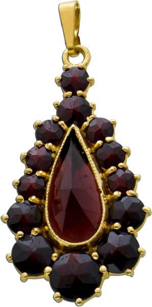 Antiker Granat rot Anhänger Gellbgold 333 Granate Böhmen 1900, 39x18mm