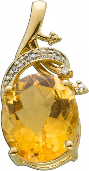 Citrin Anhänger Gelbgold 333/- Diamante...