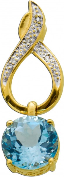 Blautopas Anhänger Gelbgold 375 Diamant...