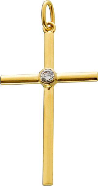 Kreuz Anhänger Gelbgold Weissgold 585/- Brillant 0,25ct. TW/VSI