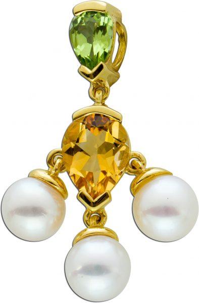 Edelstein Aanhänger Gelbgold 333 brauner Citrin hellgrüner ovaler Peridot japanische weisse Akoyaperlen 6mm