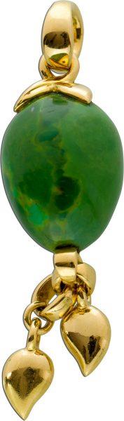 Designer Gold Anhänger Tamara Comolli Gelb Gold 750 grüner Türkis Edelstein bewegliche Herzanhänger