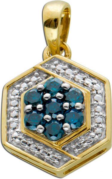 Diamant Anhänger Gelbgold 333 blaue Diamanten Brillanten Laser bestrahlt zus. 0,20ct SI