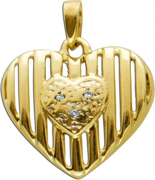 Herzförmiger Diamant Anhänger in Gelb Weissgold 333 Diamanten 8/8 W/P