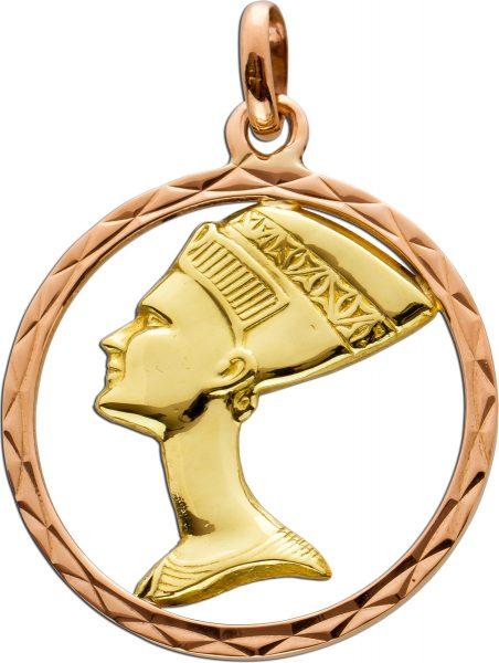 Antiker ägyptischer Nofretete Anhänger Gelb Rose Gold 750 50er Jahre