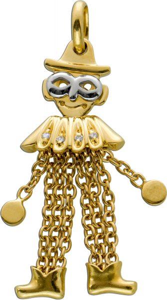 Antiker beweglicher Clown Hampelmann Gelbgold 750 um 1960 Diamanten zus. 0,04ct TW/SI