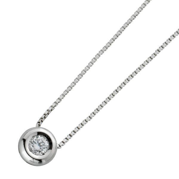 Diamant Halskette Weissgold 750 Venezianerkette Brillant Anhänger 0,30ct TW/SI 40cm