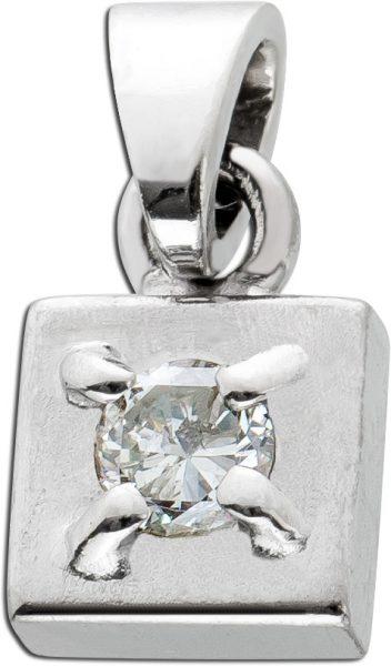 Antiker Brillant Diamant Anhänger Weissgold 585/- um 1950 poliert mattiert 0,20 Carat TW/VSI