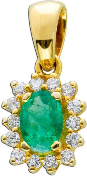 Antiker Edelsteinanhänger um 1960 grünen Smaragd Gelbgold 585 weißen Brillanten 0,30CT TW/VVSI