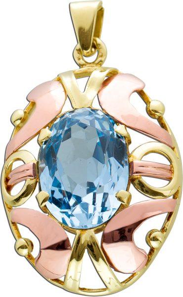 Antiker Edelstein Anhänger um 1900 hellblauen ovalen Blautopas Gelb Rosegold 585 Ornamenten