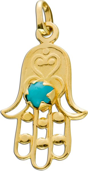 Antiker Edelsteinanhänger um 1920 schützende Hand hellblauen Türkis Gelbgold 750
