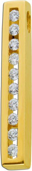 Brillantanhänger in Stabform Gelbgold 585/- kanalgefasst mit 10 Brillanten TW/VVSI zus. 0,30ct Fasser Meisterleistung
