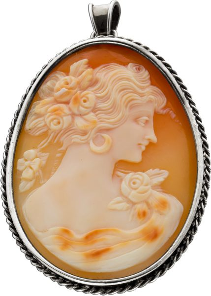 Antiker Gemme Anhänger um 1900 Silber 835 vergoldet Frau mit Blumenschmuck kordelverzierter Rand