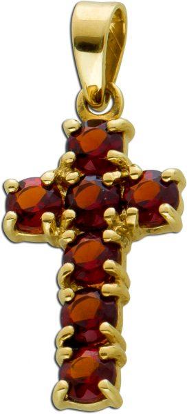Kreuz Anhänger roten runden Granaten Gelbgold 333 Edelsteinschmuck