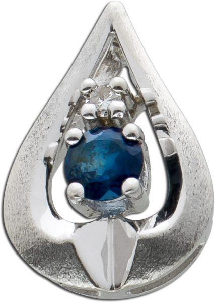 Antiker Edelstein Anhänger Weissgold 585 Tropfenform Saphir Diamant gebüstet kratzmattiert Top Zustand 50er Jahren 12x8mm