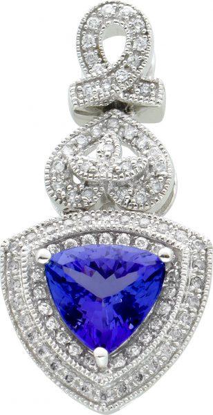 Diamant Edelstein Anhänger Weissgold 585 Triangel Tansanit 1ct  facettiert Brillanten zus 0,80 Carat W/P1