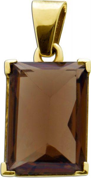 Antiker Edelstein Anhänger um 1930 Rauchquarz braun Gelbgold 333 Damenschmuck