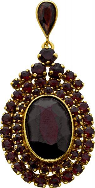Antiker Granat Anhänger Gelbgold 333 Oval Rund Facettiert Granat Edelsteine 20er Jahre Top Zustand