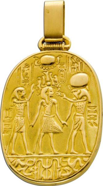 Antiker Ägyptischer Anhänger Gelbgold 999 24kt halbmassiv 1950er Jahre Ra Bildnis Feingold