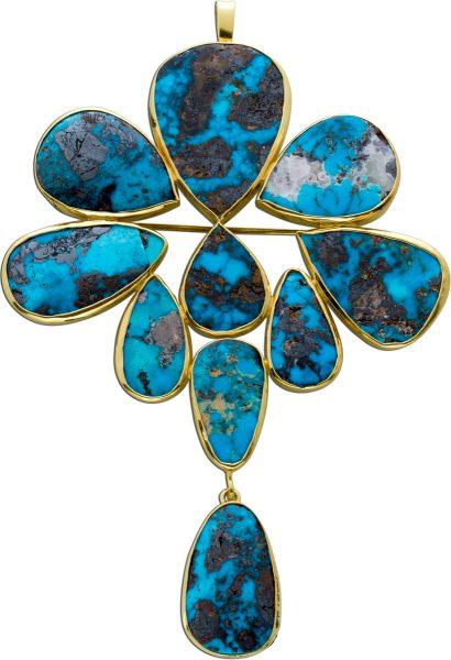 Antiker Türkis Anhänger um 1900 blau schwarz goldfarben Gelbgold 585 Edelsteinschmuck