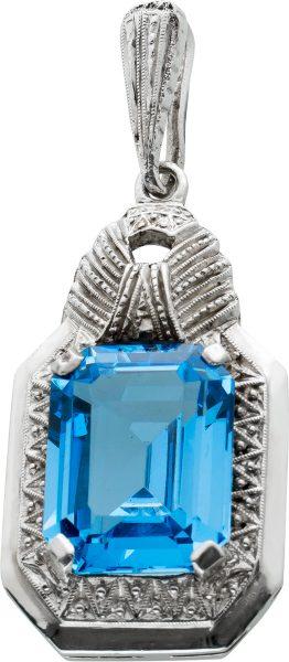Antiker Silberanhänger Silber 835 um 1920 mit einem synth. rechteckigen Blautopas 14×11,6mm