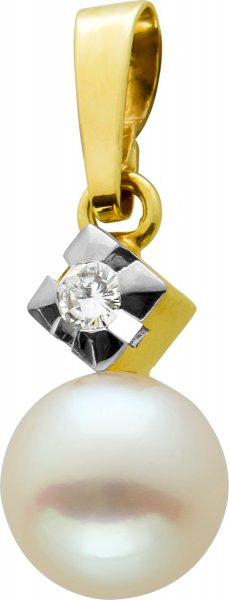 Antiker Brillant Perlen Anhänger Gelbgold Weissgold 585 Brillant W/SI 0,05 Carat Jap. Akoyaperle Rosa Ohne Einschlüsse Um 1960 TOP Zustand