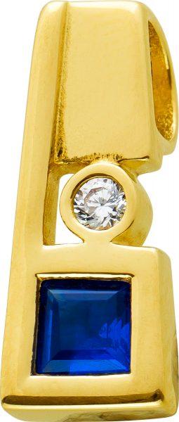 Antiker Spinell Anhänger Gelbgold 333 Edelstein Blau Carreeschliff Weißer Zirkonia Um 1980 TOP Zustand